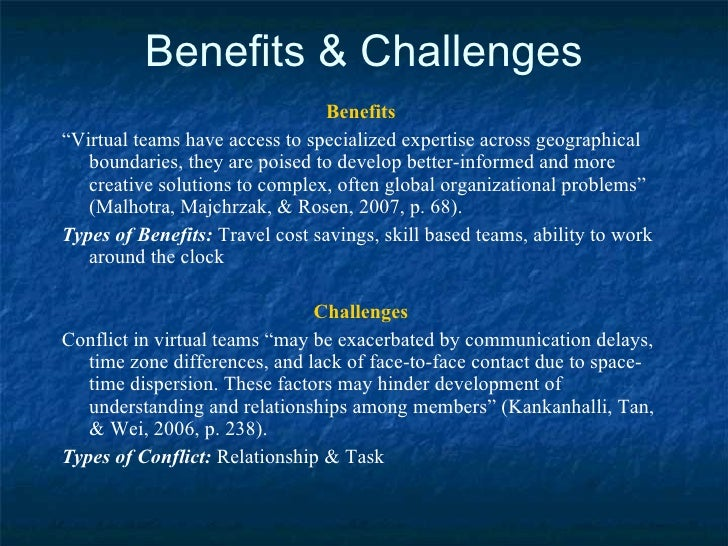 benefits and challenges of virtual collaboration The challenges of working from home  this is possible with the right tools and knowledge for virtual collaboration the benefits of virtual collaboration.