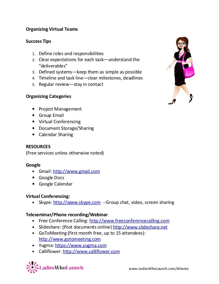 Organizing Virtual TeamsSuccess Tips   1. Define roles and responsibilities   2. Clear expectations for each task—understa...