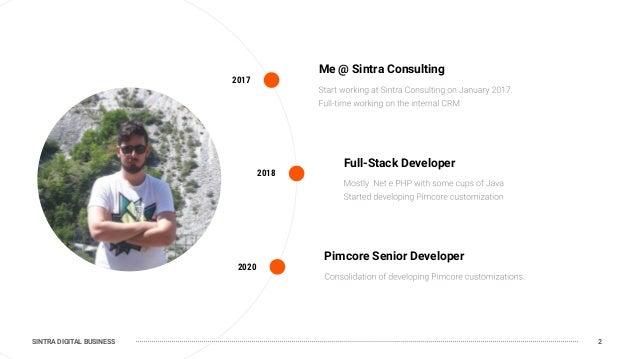SINTRA DIGITAL BUSINESS 2017 Me @ Sintra Consulting 2020 Pimcore Senior Developer 2018 Full-Stack Developer 2