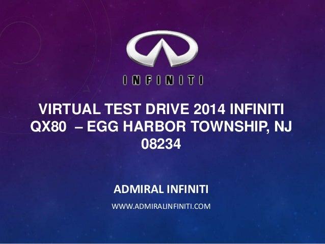 VIRTUAL TEST DRIVE 2014 INFINITI QX80 – EGG HARBOR TOWNSHIP, NJ 08234 ADMIRAL INFINITI WWW.ADMIRALINFINITI.COM