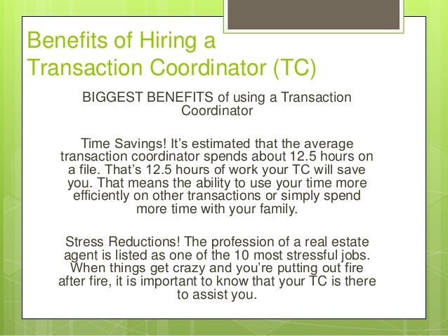 transaction coordinator for hire