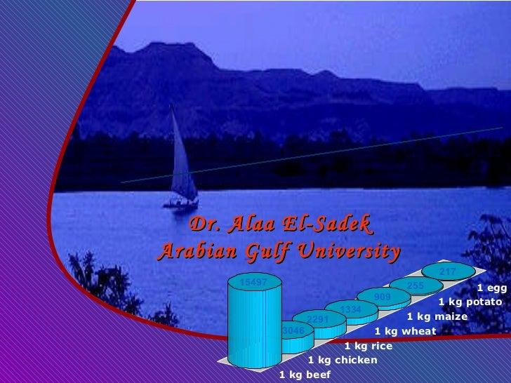 Virtual Water in WANA Dr. Alaa El-Sadek Arabian Gulf University 217 1 egg 255 1 kg potato 909 1 kg maize 1334 1 kg wheat 2...