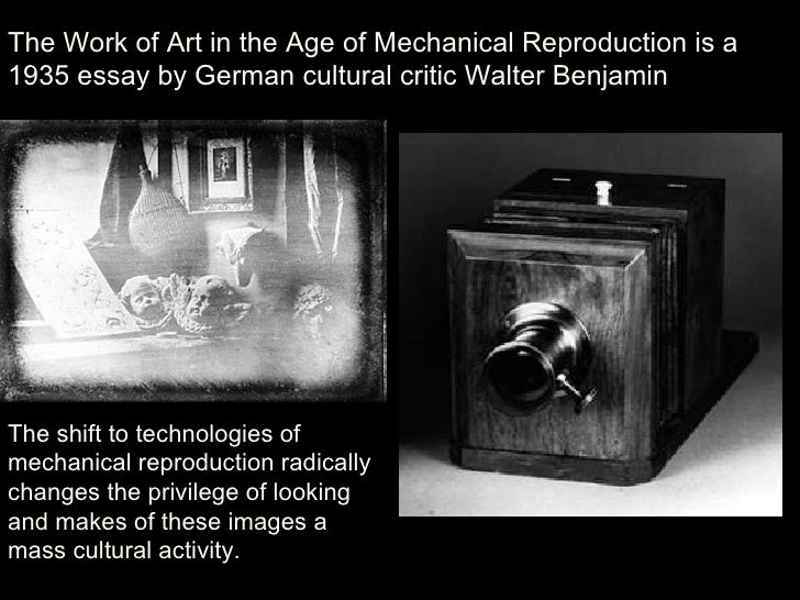 "the history of art in benjamins essay the work of art in the age of mechanical reproduction By erik larsen introduction and historical information despite its relative brevity, walter benjamin's essay ""the work of art in the age of mechanical reproduction,"" continues to inspire."