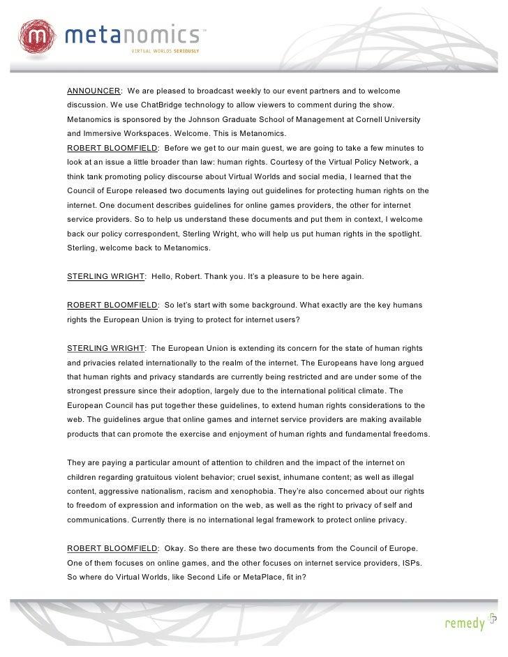 Metanomics: Virtual Worlds and the Law, Transcript Slide 2