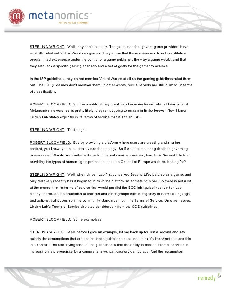 Metanomics: Virtual Worlds and the Law, Transcript Slide 3