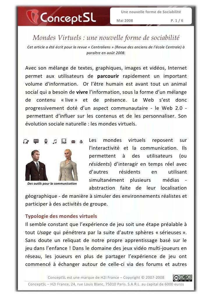Une nouvelle forme de Sociabilité                                                      Mai 2008                         P....