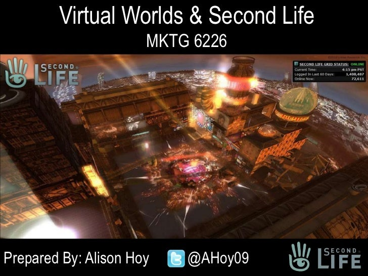 Virtual Worlds & Second LifeMKTG 6226<br />Prepared By: Alison Hoy	 	@AHoy09<br />