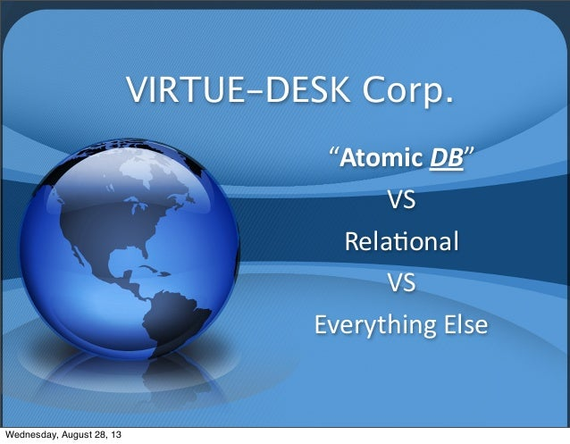 "VIRTUE-DESK Corp. ""Atomic	   DB""	    VS Rela*onal VS	    Everything	   Else Wednesday, August 28, 13"