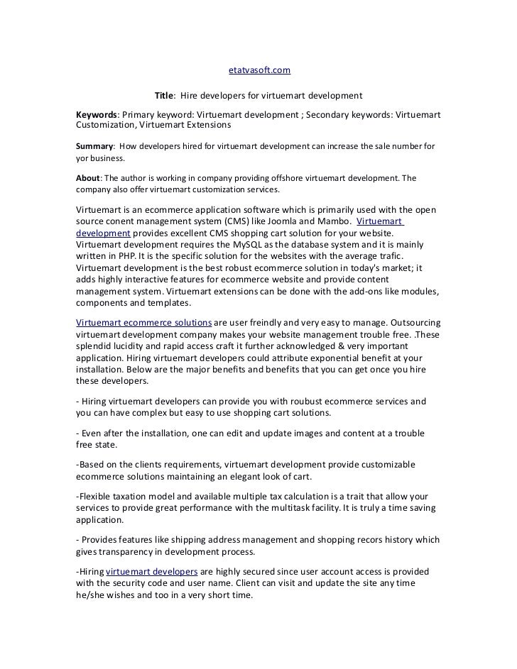 etatvasoft.com                    Title: Hire developers for virtuemart developmentKeywords: Primary keyword: Virtuemart d...