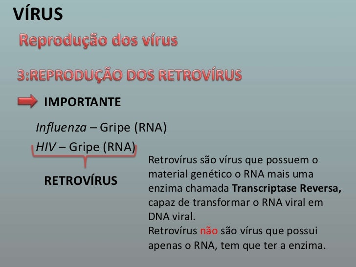 VÍRUS<br />Reprodução dos vírus<br />3:REPRODUÇÃO DOS RETROVÍRUS <br />IMPORTANTE<br />Influenza – Gripe (RNA)<br />HIV – ...
