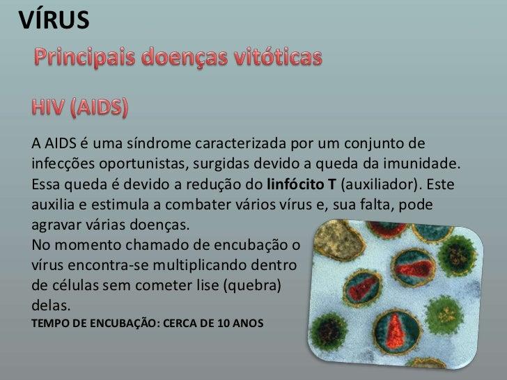 VÍRUS<br />Principais doenças vitóticas<br />HIV (AIDS) <br />A AIDS é uma síndrome caracterizada por um conjunto de infec...