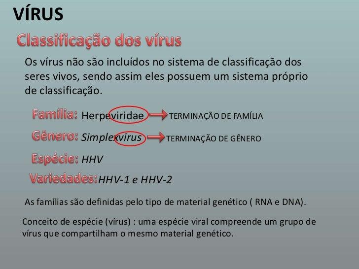 VÍRUS<br />Classificação dos vírus<br />Os vírus não são incluídos no sistema de classificação dos seres vivos, sendo assi...