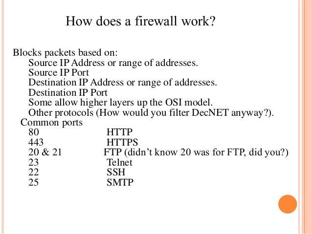 Blocks packets based on: Source IP Address or range of addresses. Source IP Port Destination IP Address or range of addres...