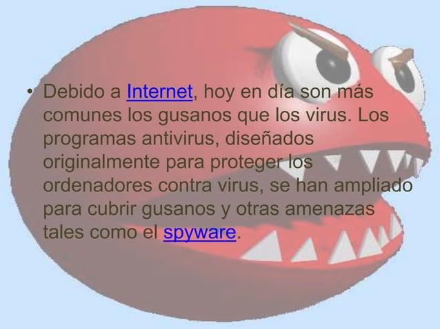 • Debido a Internet, hoy en día son más comunes los gusanos que los virus. Los programas antivirus, diseñados originalment...
