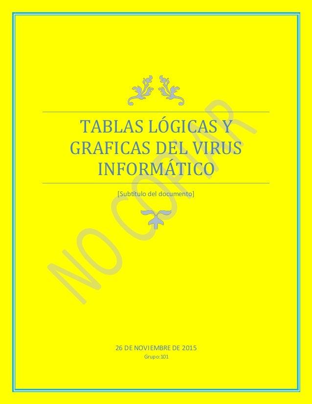 TABLAS LÓGICAS Y GRAFICAS DEL VIRUS INFORMÁTICO [Subtítulo del documento] 26 DE NOVIEMBRE DE 2015 Grupo:101