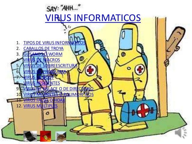 VIRUS INFORMATICOS1. TIPOS DE VIRUS INFORMATICOS2. CABALLOS DE TROYA3. GUSANOS O WORM4. VIRUS DE MACROS5. VIRUS DE SOBREES...
