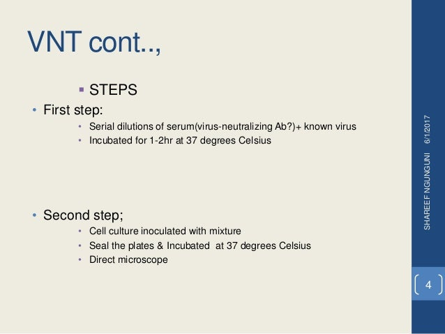 VNT cont..,  STEPS • First step: • Serial dilutions of serum(virus-neutralizing Ab?)+ known virus • Incubated for 1-2hr a...