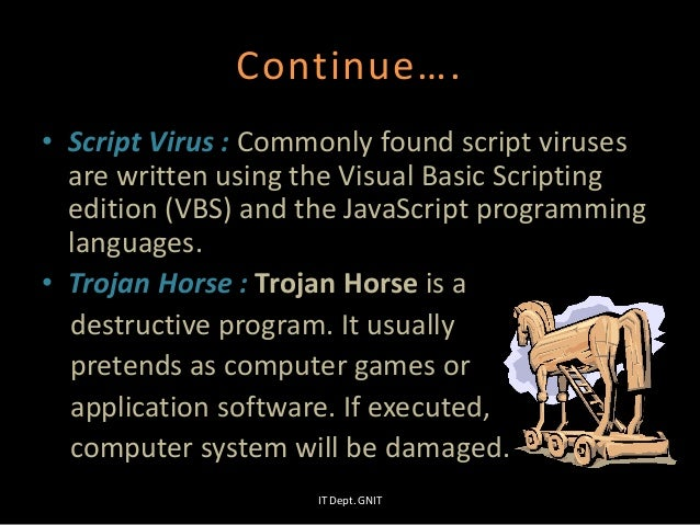 Continue…. • Script Virus : Commonly found script viruses are written using the Visual Basic Scripting edition (VBS) and t...