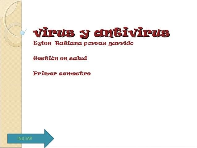virus y antivirusvirus y antivirus Eylen Tatiana porras garrido Gestión en salud Primer semestre INICIAR