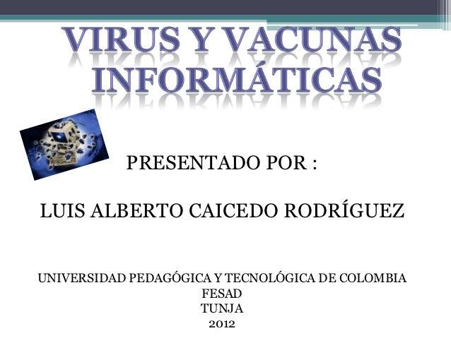 PRESENTADO POR :LUIS ALBERTO CAICEDO RODRÍGUEZUNIVERSIDAD PEDAGÓGICA Y TECNOLÓGICA DE COLOMBIA                     FESAD  ...