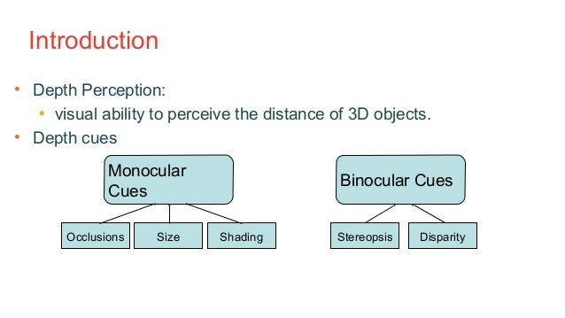 many depth cues are monocular so Although a blurred photo seems very different from a 3d tv, there are many similarities between disparity and defocus both are depth cues which are available from purely retinal information (although they may need extraretinal information, such as eye position or pupil diameter, to be interpreted fully.