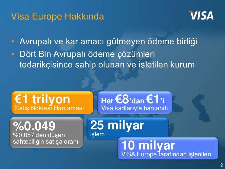 Visa Europe Hakkında• Avrupalı ve kar amacı gütmeyen ödeme birliği• Dört Bin Avrupalı ödeme çözümleri  tedarikçisince sahi...