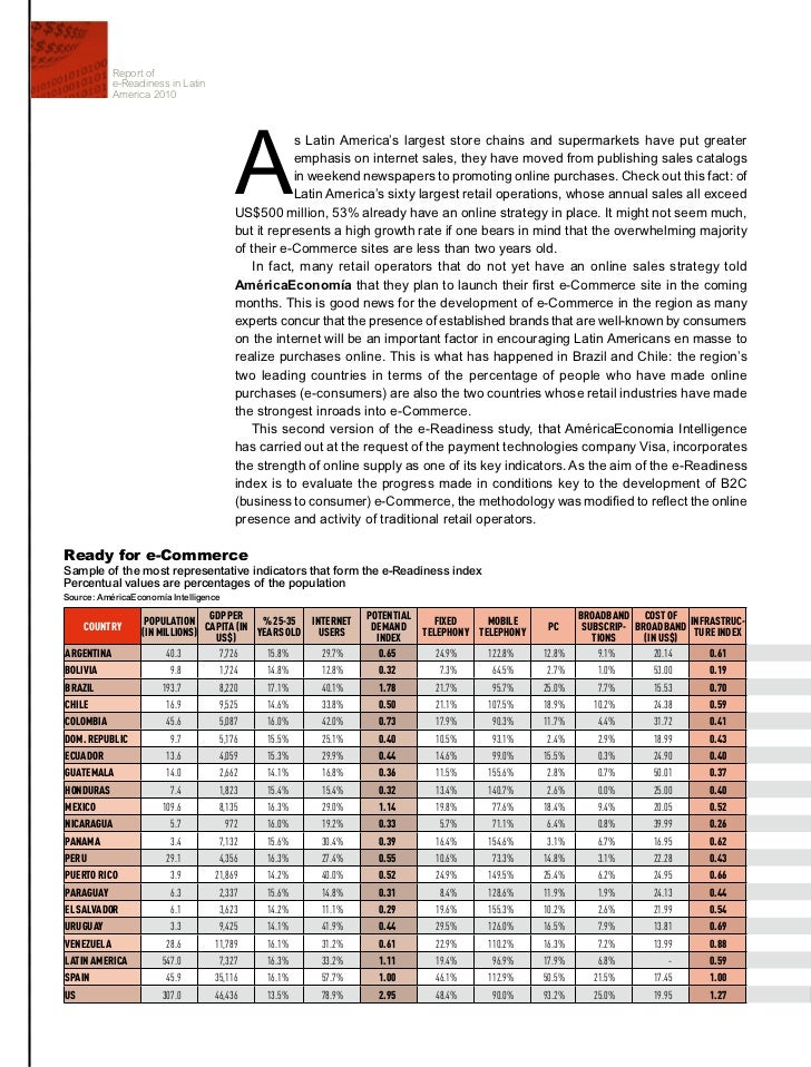 Report of            e-Readiness in Latin            America 2010                                         a               ...