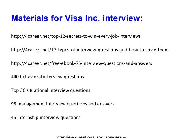 visa inc  interview questions and answers
