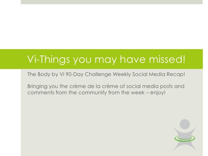 Vi-Things you may have missed!The Body by Vi 90-Day Challenge Weekly Social Media Recap!Bringing you the crème de la crème...
