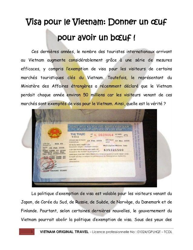 1 VIETNAM ORIGINAL TRAVEL – Licence professionnelle No : 01024/GPLHQT – TCDL Visa pour le Vietnam: Donner un œuf pour avoi...