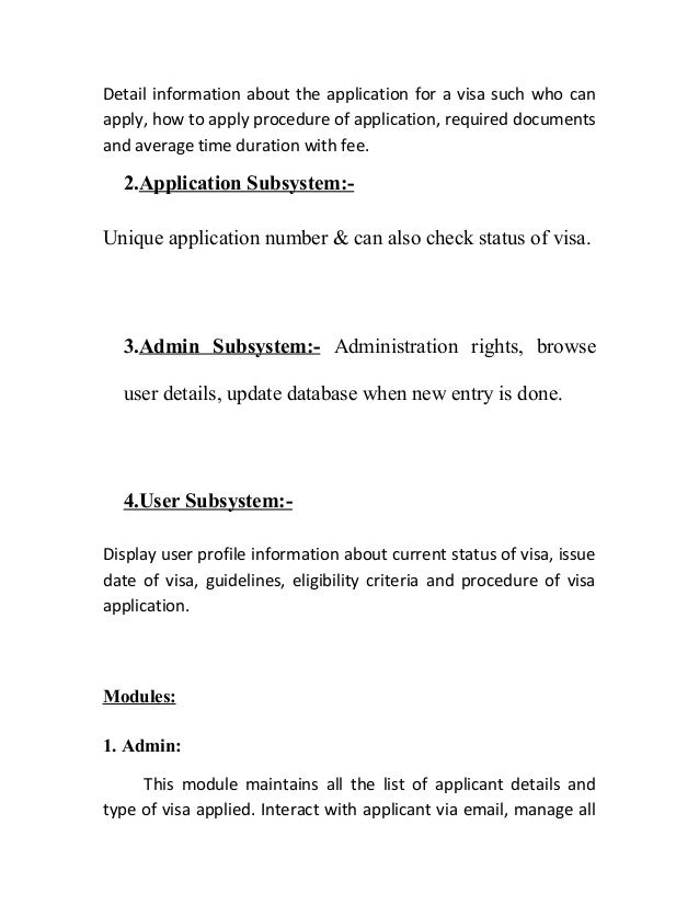 Visa srs information subsystem 6 detail information about the application ccuart Image collections