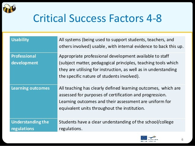Critical Success Factors 4-8Usability           All systems (being used to support students, teachers, and                ...