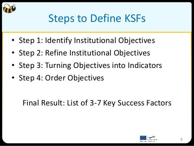 Steps to Define KSFs•   Step 1: Identify Institutional Objectives•   Step 2: Refine Institutional Objectives•   Step 3: Tu...