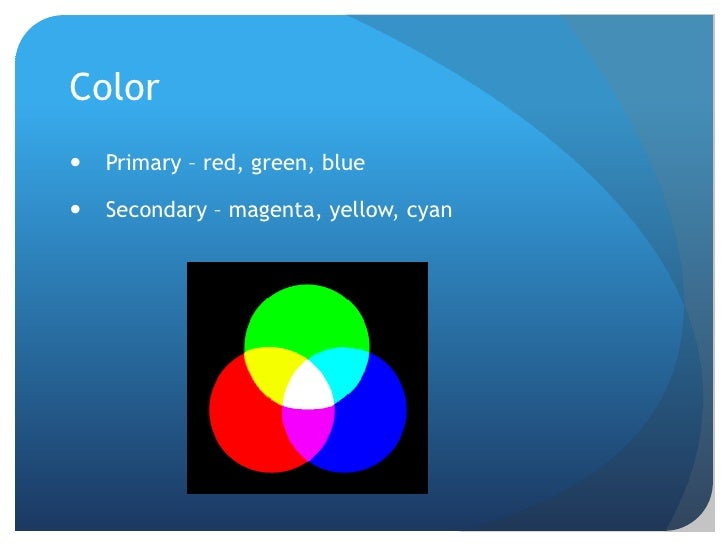 Color<br />Primary – red, green, blue<br />Secondary – magenta, yellow, cyan<br />