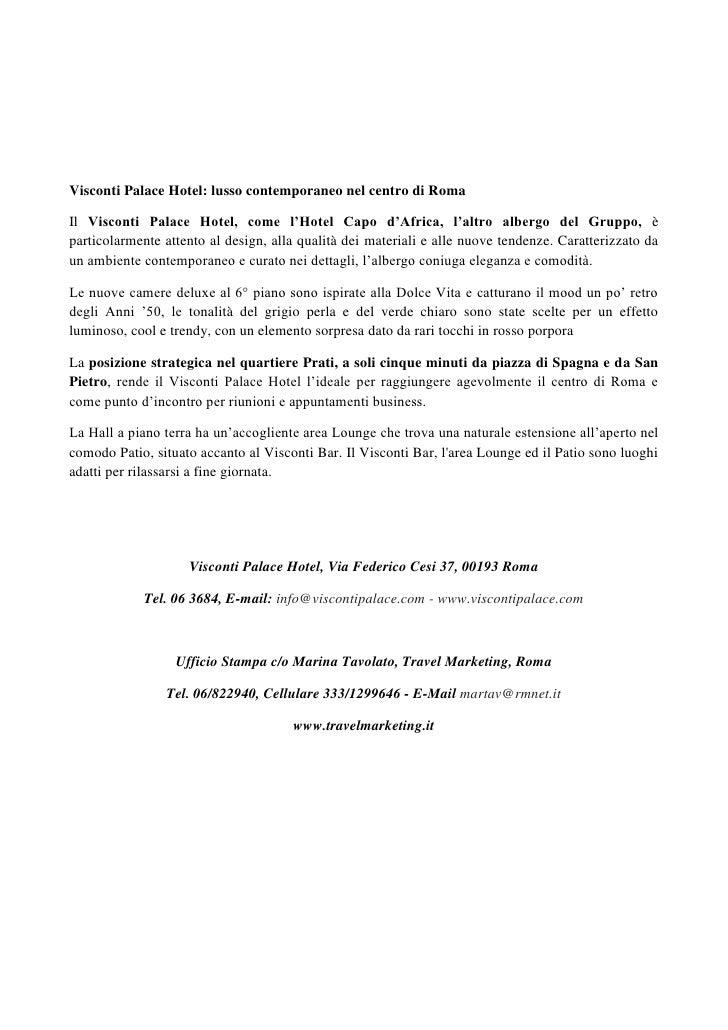 Visconti Palace Hotel Inaugura Il 28 Maggio A Roma Il