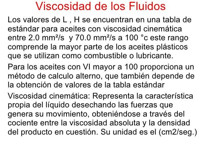 Viscosidad de los Fluidos Los valores de L , H se encuentran en una tabla de estándar para aceites con viscosidad cinemáti...