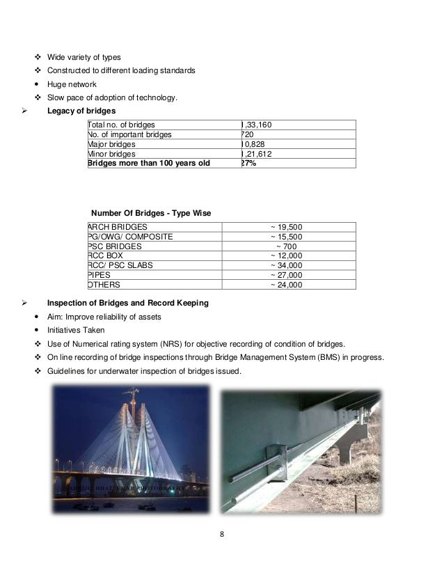 an analysis of the eight types of bridges Wisdot bridge manual chapter 13 - piers january 2018 13-1 table of contents the analysis pier to determine the bridge width, bearing type and width, skew, required vertical and horizontal clearance.