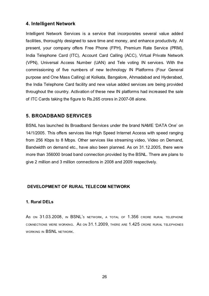 bsnl project report