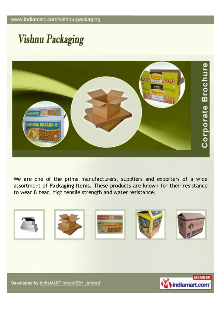 We are one of the prime manufacturers, suppliers and exporters of a wideassortment of Packaging Items. These products are ...