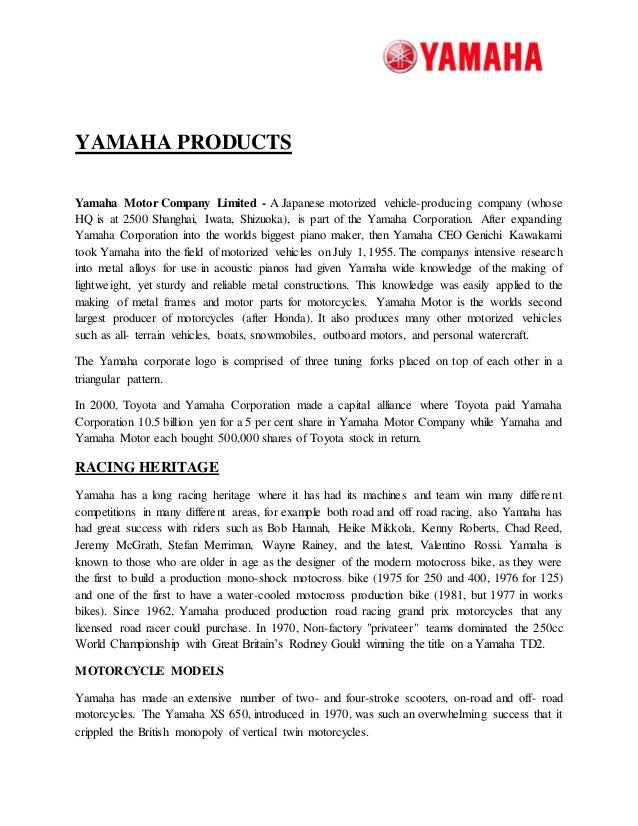 yahama- a project report