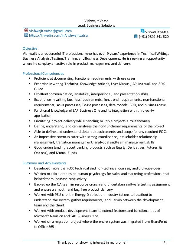 Professional Resume for Lead Business Solutions, Business Analyst, Te…