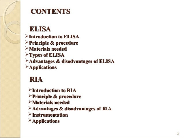 radioimmunoassay ria and enzyme linked immunosorbent assay elisa essay Enzyme immunochemical assay ( eia ) or enzyme linked  the purpose of this essay is to summarize  chemiluminescence and elispot assay indirect elisa can be used.