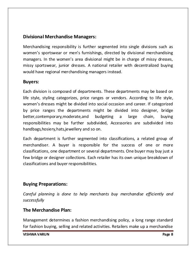 Retail merchandising strategy for fashion merchandise 8 vishwa varun page 8 divisional merchandise managers merchandising fandeluxe Images