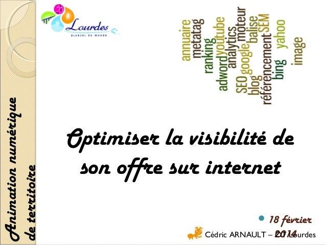 Animation numérique de territoire  Optimiser la visibilité de son offre sur internet 18  février Cédric ARNAULT – 2014 OT...