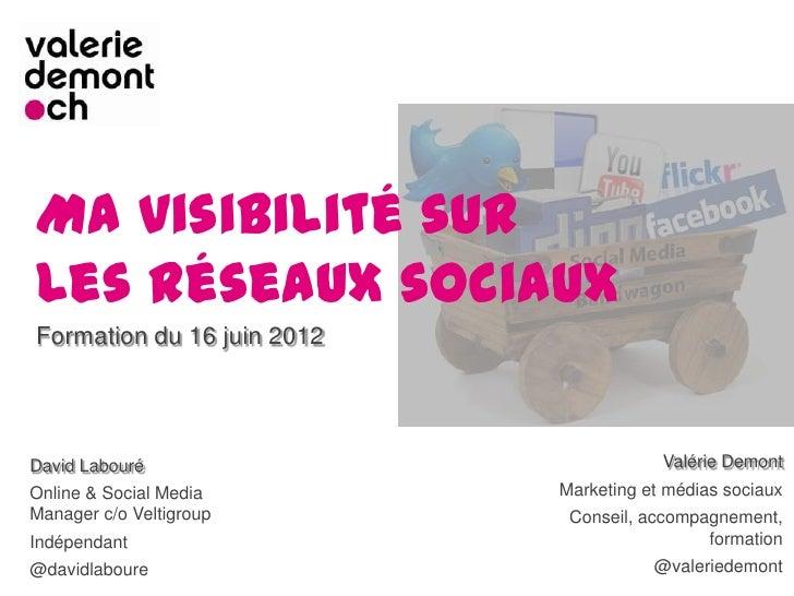 Ma visibilité surles réseaux sociauxFormation du 16 juin 2012David Labouré                           Valérie DemontOnline ...