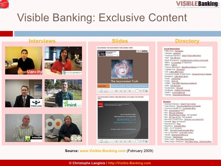 Visible Banking: Exclusive Content Source:  www.Visible-Banking.com   (February 2009)  Interviews Slides Directory