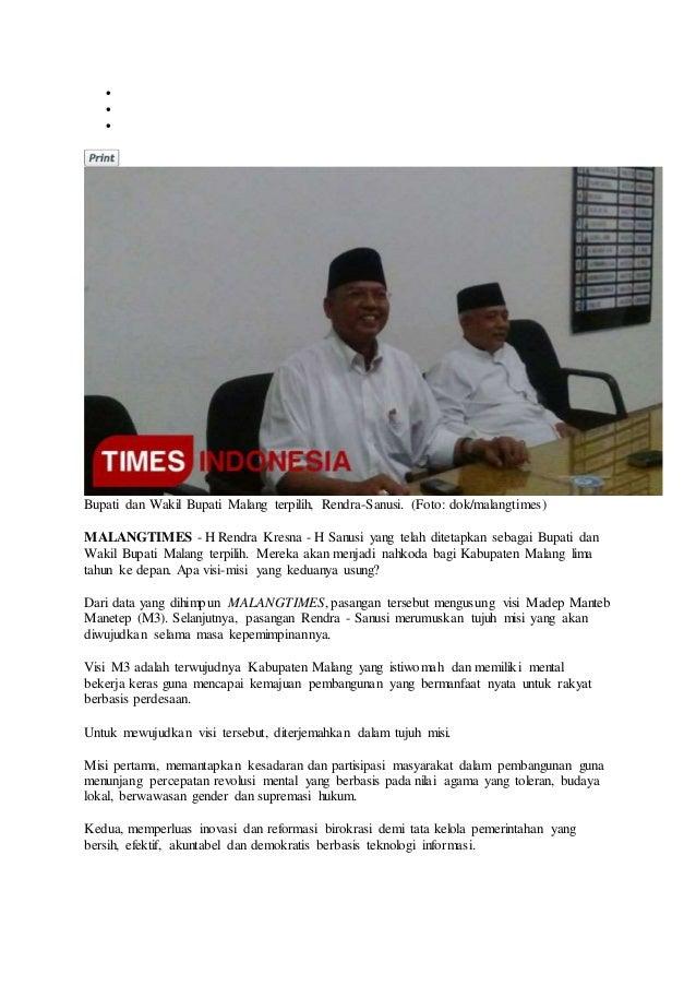    Bupati dan Wakil Bupati Malang terpilih, Rendra-Sanusi. (Foto: dok/malangtimes) MALANGTIMES - H Rendra Kresna - H Sa...