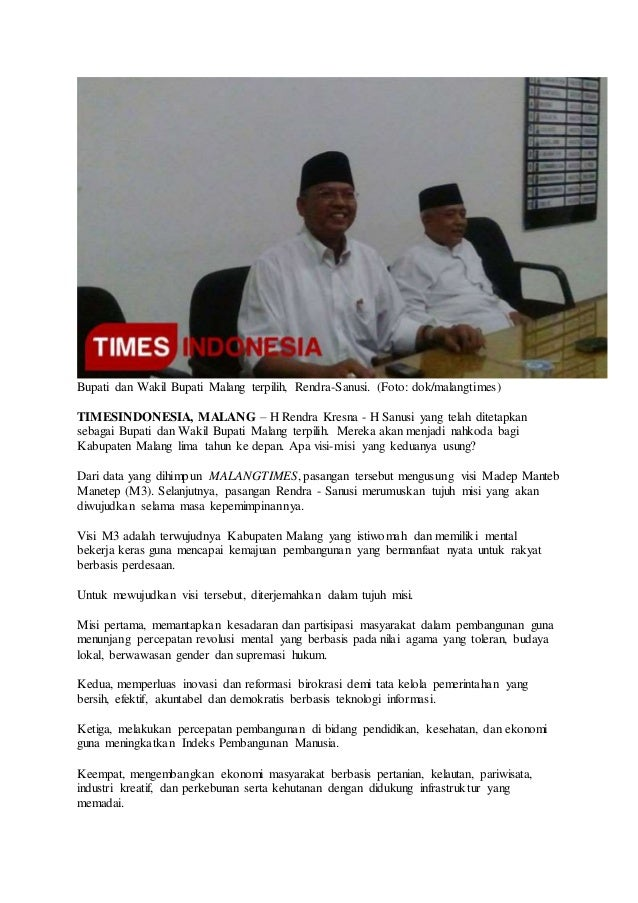Bupati dan Wakil Bupati Malang terpilih, Rendra-Sanusi. (Foto: dok/malangtimes) TIMESINDONESIA, MALANG – H Rendra Kresna -...
