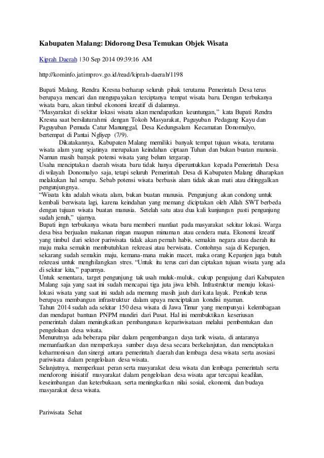 Kabupaten Malang: Didorong Desa Temukan Objek Wisata Kiprah Daerah   30 Sep 2014 09:39:16 AM http://kominfo.jatimprov.go.i...