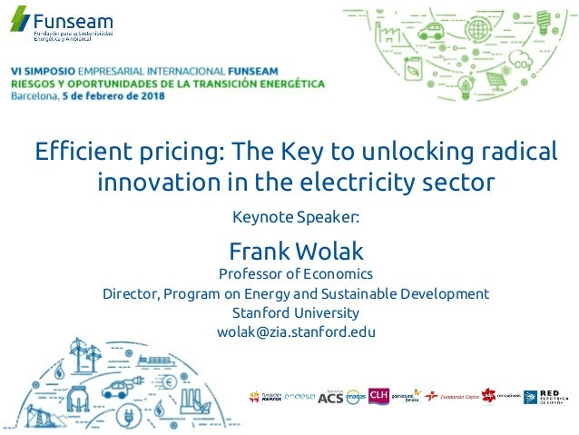 Efficient pricing: The Key to unlocking radical innovation in the electricity sector Keynote Speaker: Frank Wolak Professo...